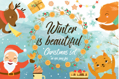 Winter Christmas set with Santa  SVG AI EPS PNG