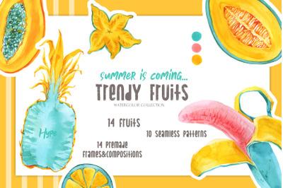 TRENDY FRUITS Watercolor Set