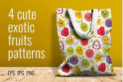 4 cute exotic fruits seamless patterns