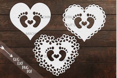 Baby Footprint Foot with heart svg dxf papercut laser cut