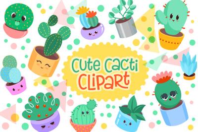 Cute Cacti Clipart - 18 vector items