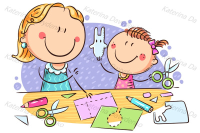 Mother or teacher and a little girl enjoy crafting together
