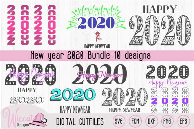 Happy new year 2020 word art, 2020 quote svg,