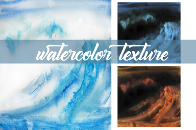 watercolor abstract landscape ocean and texture
