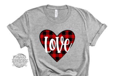 Love {Buffalo Plaid Heart} SVG / PNG Digital Cut File