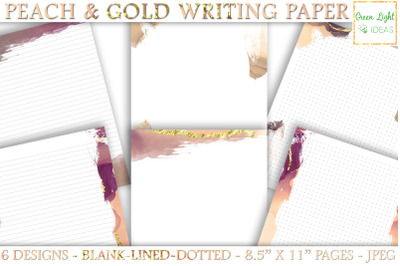 Peach Gold Printable Stationery Paper, Printable Journal Pages
