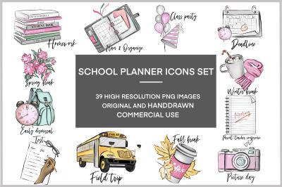 School stickers pink clipart