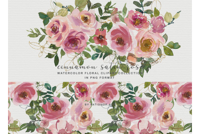 Blush Peach Watercolor Floral Clipart Collection
