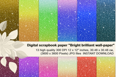 Multi-colored Brilliant Glitter Ombre, Digital Paper.