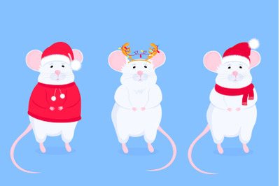 Rat in Santa s hat and with antler. Chinese New Year 2020