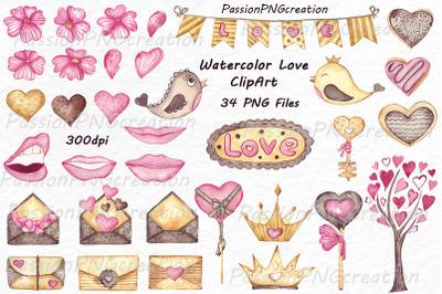 Watercolor Love ClipArt set