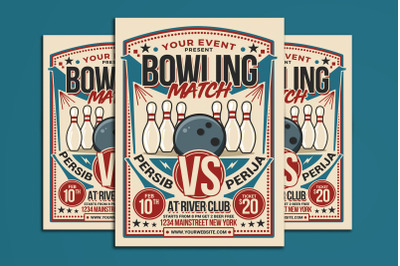 Retro Bowling Match Flyer