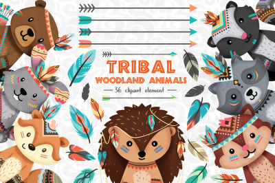 Tribal Woodland animals Clipart Set 1