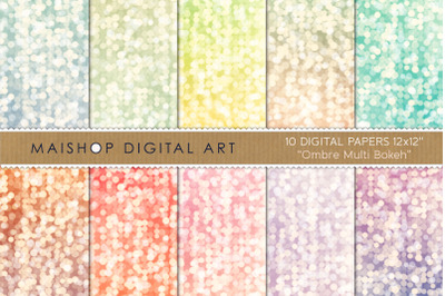Digital Paper   I   Ombre Multi Bokeh