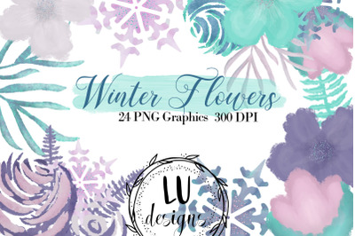 Winter Watercolor Flowers Clipart, Wedding Purple Floral Wreaths