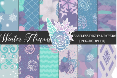 Winter Watercolor Flowers Digital Papers, Purple Floral Backgrounds