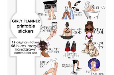 Girly planner printable stickers clipart