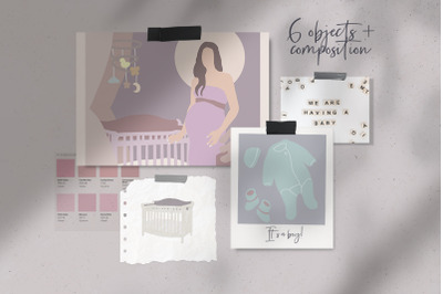 Abstract baby items - pregnant woman, 5 items + composition