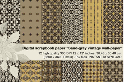 Sand-gray abstract and geometrical masculine Digital Paper