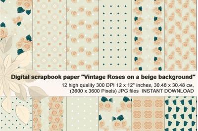 Beige Vintage Backgrounds, with Roses, Digital Paper.