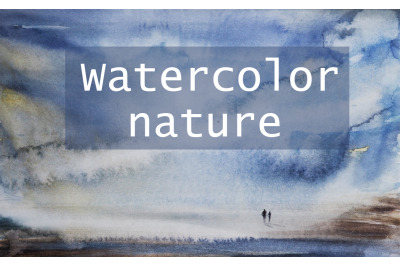 watercolor abstract landscape with lonely people by the sea