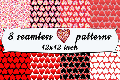 8 Seamless Heart Patterns