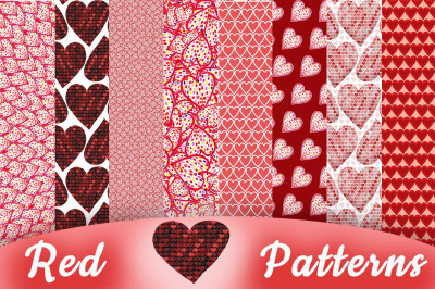 Red Hearts Seamless Patterns