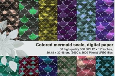 Colourful velvety mermaid scales, Printable digital paper.