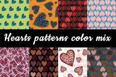 Hearts Patterns Color Mix