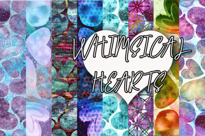 Whimsical Heart Seamless Patterns