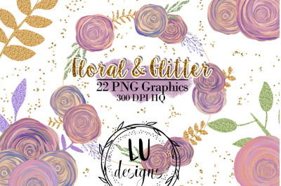 Roses Clipart, Floral Glitter Illustrations, Wedding Flowers Graphics