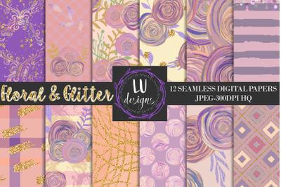 Floral Digital Papers, Roses Seamless Patterns, Flowers Scrapbooking