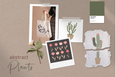 Abstract minimalistic flowers, cactuses, dried plants set
