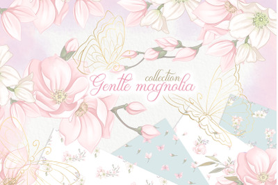 Magnolia flowers wedding Clipart PNG download. Spring floral graphics.
