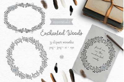 Rustic hand drawn clipart, floral wreath clipart, floral digital stamp