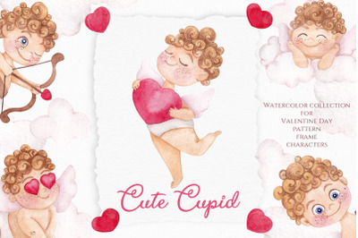 Cute Cupid. Watercolor Valentine's day
