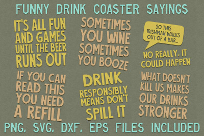 Funny Drink Coaster SVG Files