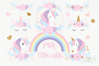 Unicorn PNG clipart. Unicorn Face. Cute magic birthday party graphic.