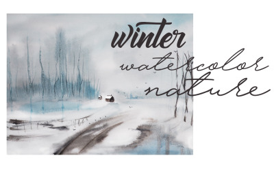 Christmas  and  New Year winter illustration. watercolor winter landsc