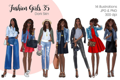 Watercolor Fashion Clipart - Fashion Girls 35 - Dark Skin