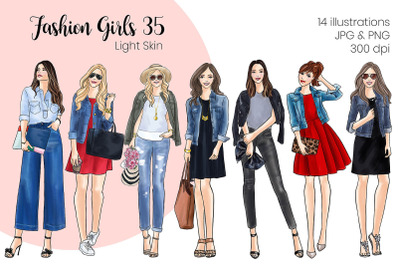 Watercolor Fashion Clipart - Fashion Girls 35 - Light Skin