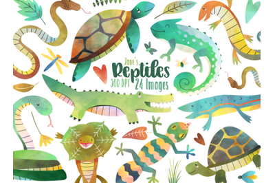 Watercolor Reptiles Clipart