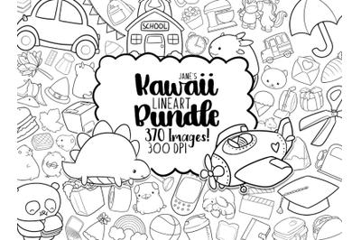 Kawaii Lineart Clipart Bundle