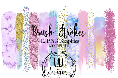 Unicorn Rainbow Brush Strokes Clipart, Confetti Glitter Overlays