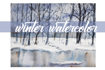 watercolor  Winter landscape.watercolor nature of new year