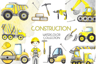 Construction. Watercolor collection