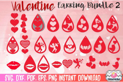 SVG, DXF, PDF, PNG, and EPS  Valentine Hearts Earring Template Bundle