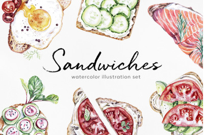 Watercolor food set illustrations. Sandwich foods.