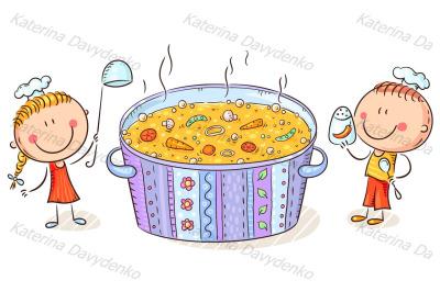 Kids cooking, healthy food or vegetarian concept