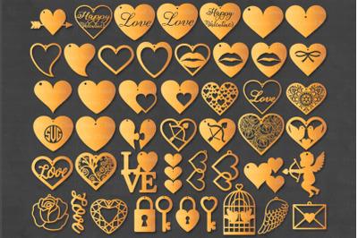 Valentine Heart Earrings SVG, Earrings Valentine, Love SVG Cut Files.